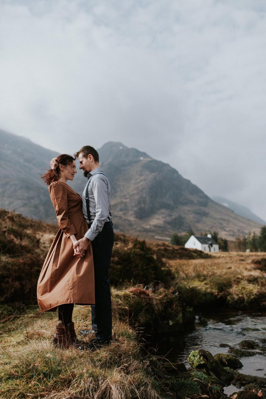 Romantic Glencoe Adventure Couple Session - Never let him go