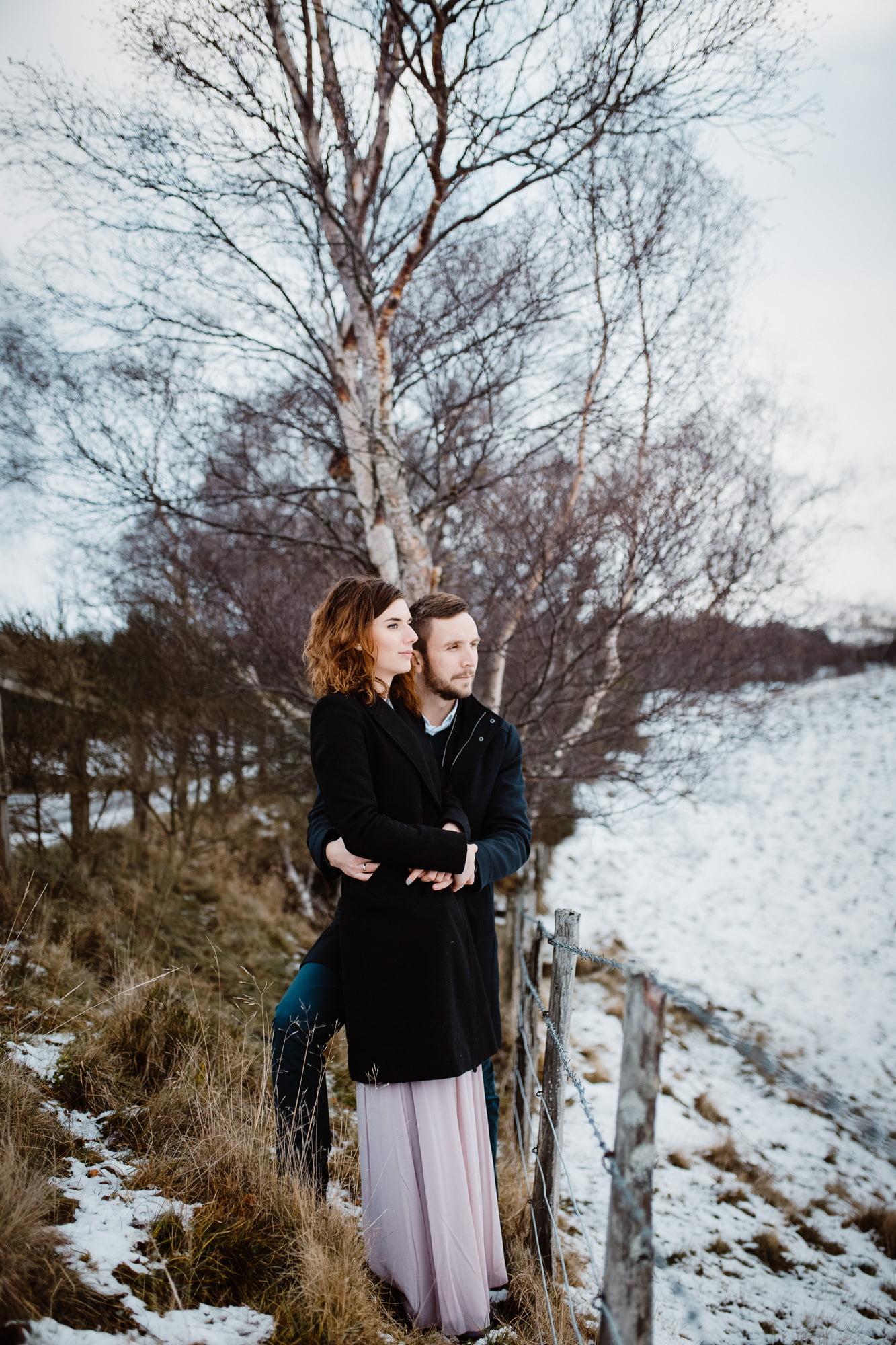 Clova couple session, winter in Scotland, winter in Cairngorms National Park, winter in Glen Clova, Winter in Clova