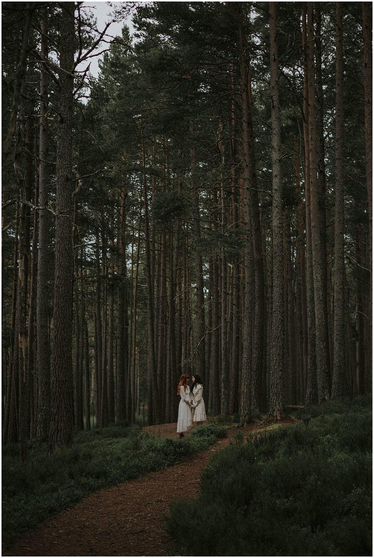 Forest Vintage Rustic Boho Wedding Scotland, Jenny & Stephanie, Scotland Elopement Photographer, Cairngorms National Park Elopement, Same Sex Wedding and Elopement Photographer Scotland