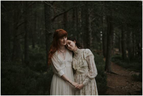 Forest Vintage Rustic Boho Wedding Scotland, Jenny & Stephanie, Scotland Elopement Photographer, Cairngorms National Park Elopement, Same Sex Wedding and Elopement Photographer Scotland