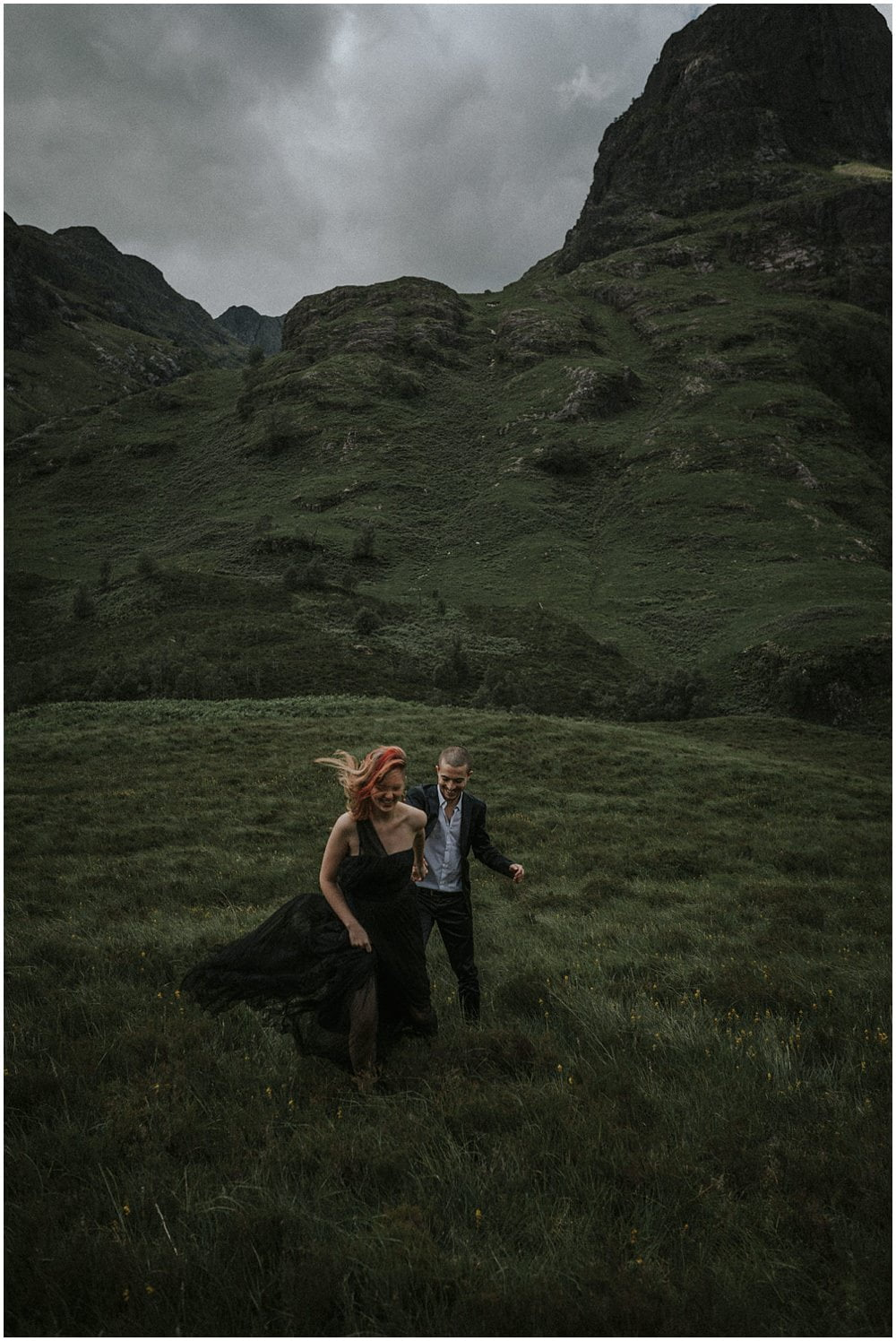 Adventurous Couples Photo Session in Glencoe, Three Sisters, JKL Duo, Glasgow musicians photo shoot in Glencoe Valley