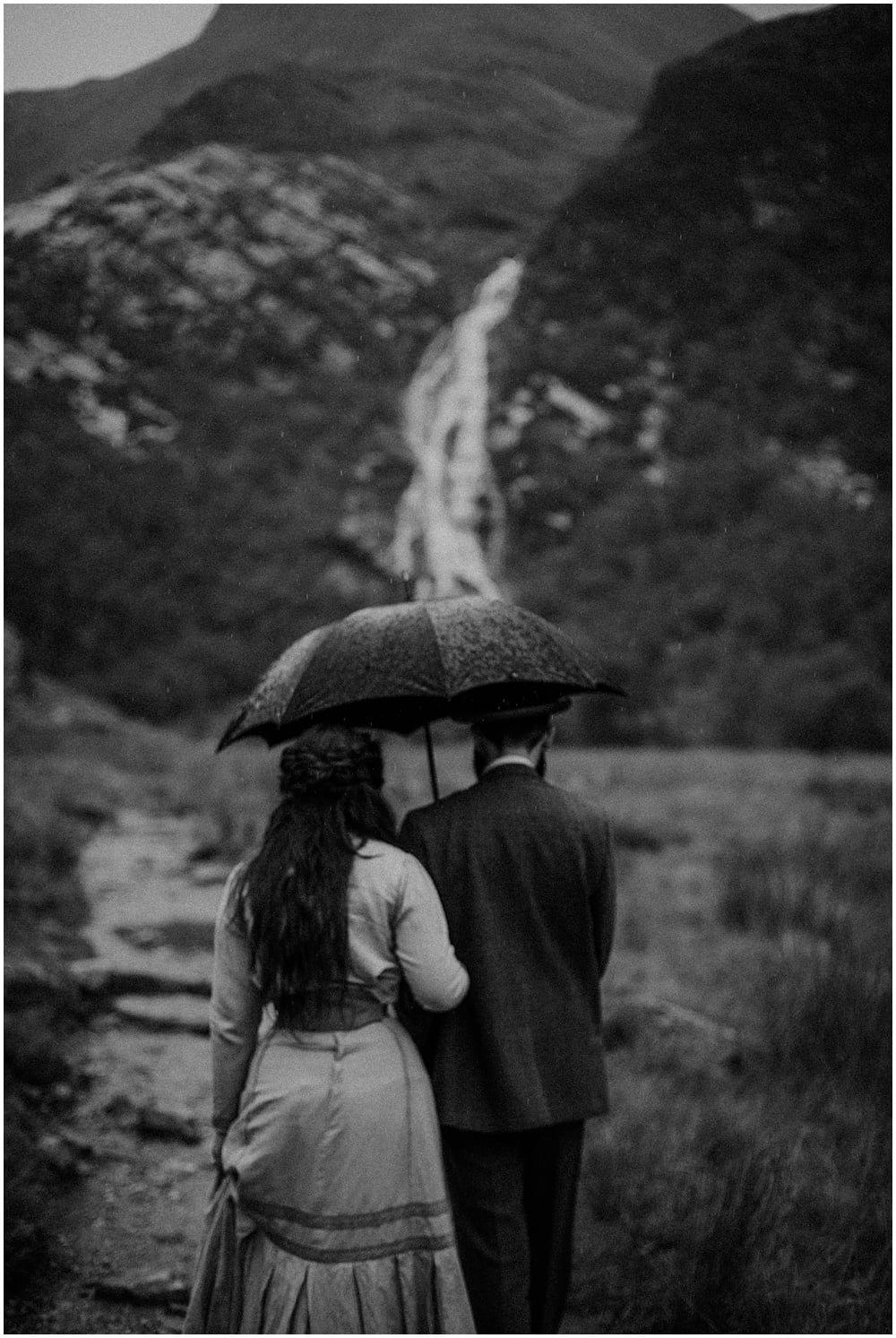 Steall Falls Rainy Engagement - Tally & Jack
