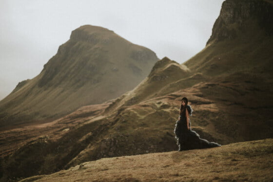 Cleo in Millia London tulle wedding dress, The Quiraing Isle of Skye Photographer by Bernadeta Kupiec, Isle of Skye Elopement Photographer