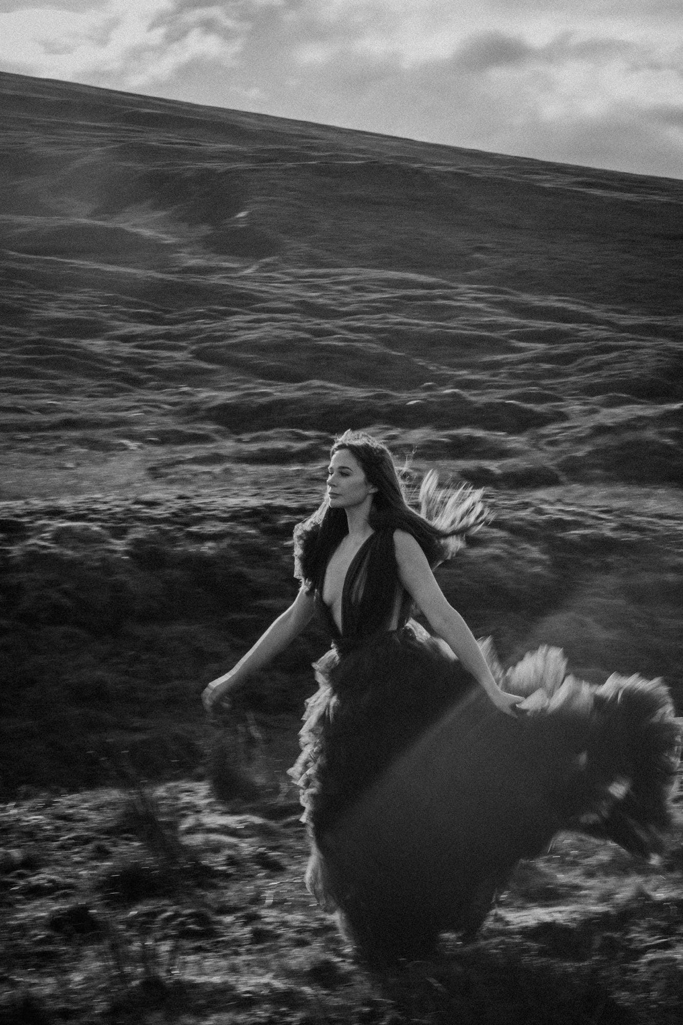 Cleo in Millia London tulle wedding dress, The Quiraing Isle of Skye Photographer by Bernadeta Kupiec, Isle of Skye Elopement Photographer