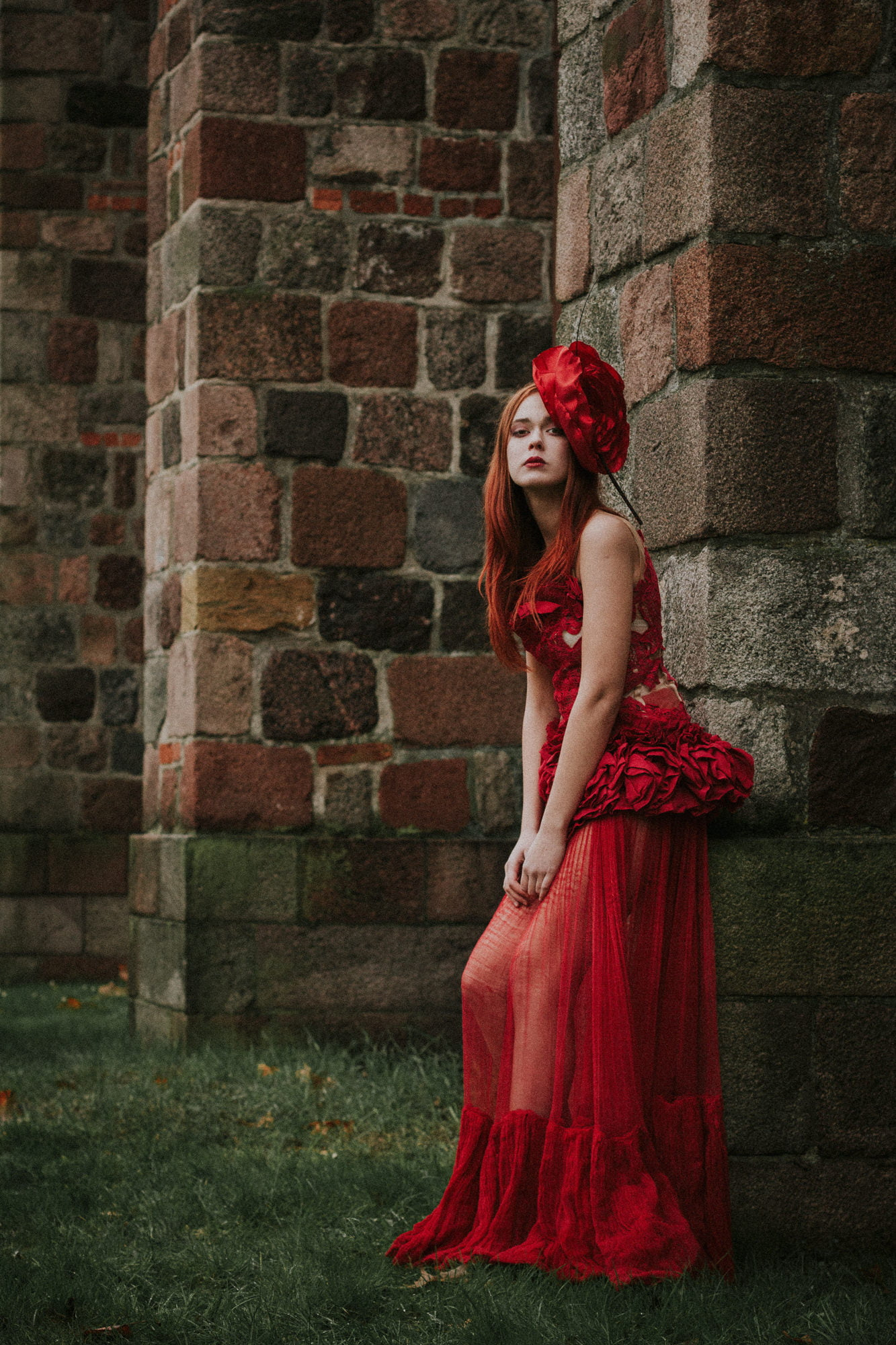 romantic quirky wedding photographer Scotland, red wedding dress