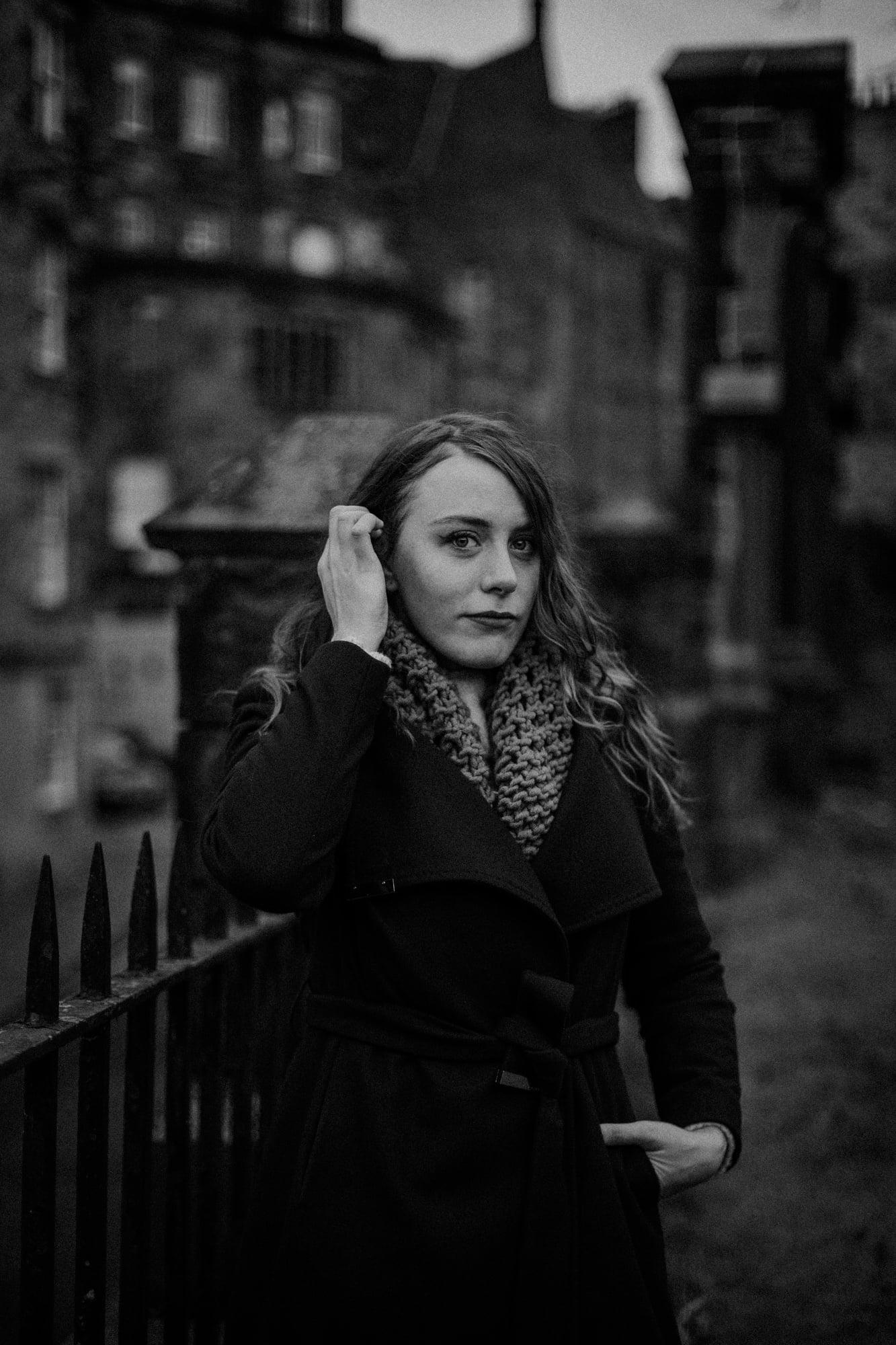 Winter portrait photoshoot in Edinburgh Old Town