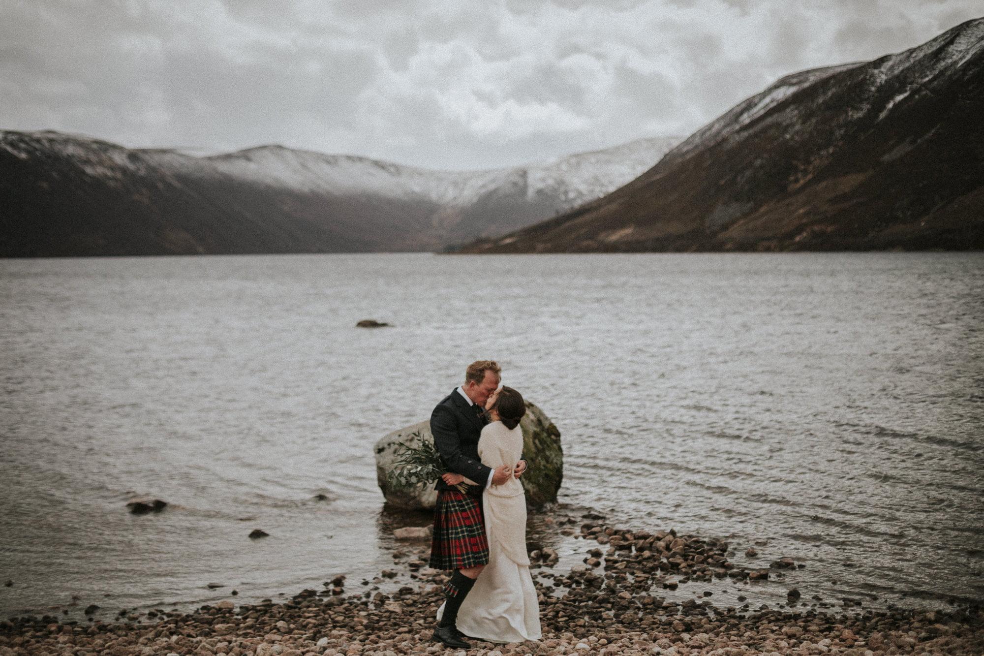 Loch Muick elopement, Adventurous Scottish elopement wedding at Loch Muick in the Cairngorms National Park