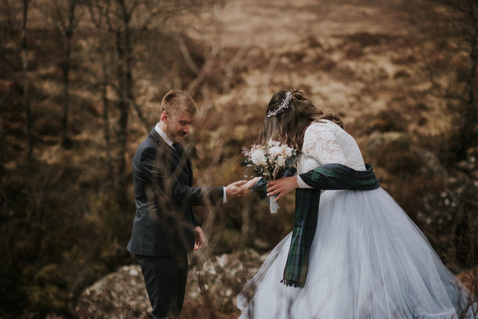 Elopement in Glencoe, Scotland. Intimate wedding in Scotland, Kingshouse Hotel Glencoe wedding, Glen Etive elopement