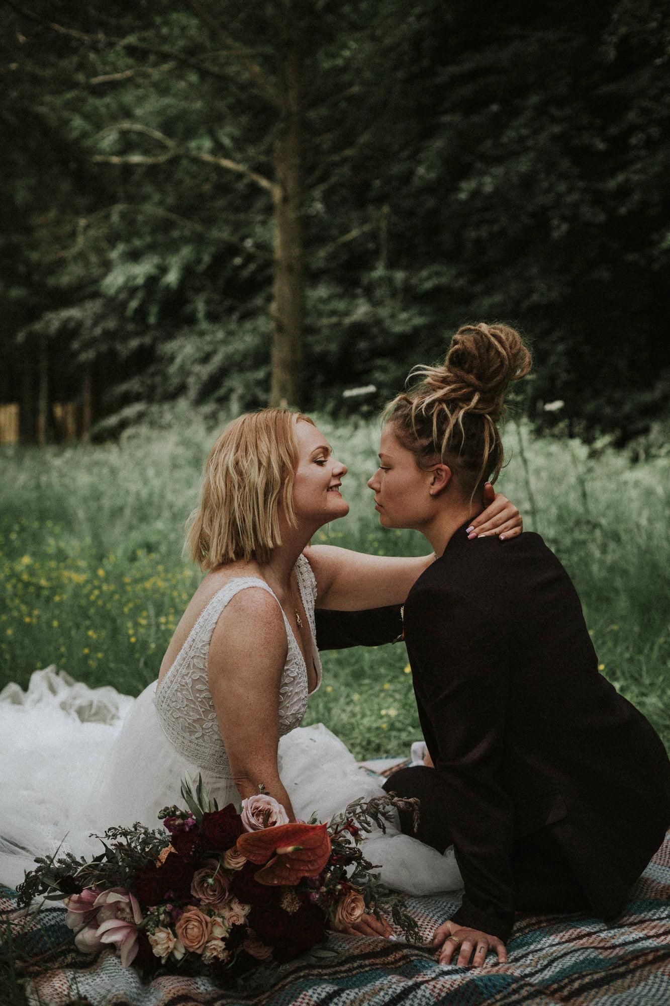 Glen Dye Cabins & Cottages elopement, Bridge of Dye elopement, boho same-sex elopement Scotland